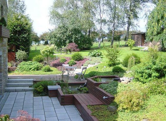 Jardin en pente avec fontaine jardin pinterest pi ces de monnaie comme - Amenager un terrain en pente ...