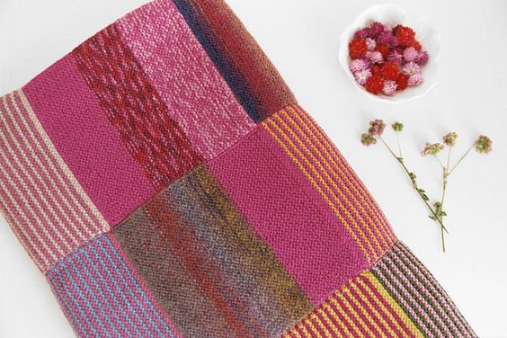 Big Wool Throw, Handknit Blanket, Pink Purple shades