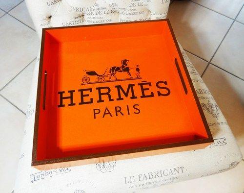 hermes birkin inspired bag - HERMES Orange Lacquer Serving Tray, Chocolate Replica Hermes Logo ...