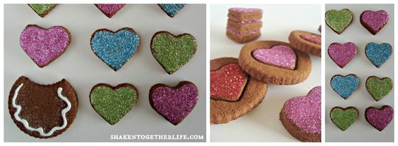 "non-edible cinnamon spice dough Valentine's ""cookies"" with glitter frosting"
