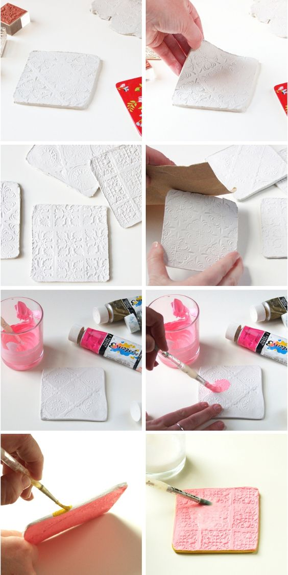 DIY STAMPED CLAY COASTERS. Clay, How To Make Your and Step By Step