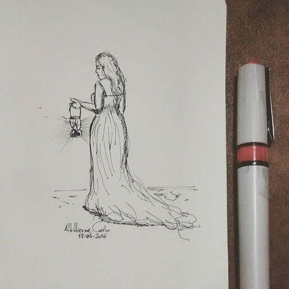 """""""Não é possível dar um passo adiante com os olhos fitos no passado, mas olhando ao horizonte, e com os pés bem firmes no presente."""" [Augusto Branco]  Dia 109... #desenhosdoalti #desenhos #sketch #sketchers #sketchbook #art #artlovers #artbrazil #artworks #instaart #instartist #illustration #UmDesenhoPorDia #Week #dibujo #nankin #draw #drawing #iLike #simplicity #woman"""