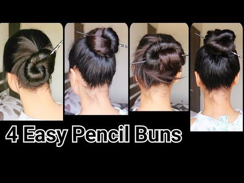 4 Pencil Bun Juda Hairstyles No Bobby Pin No Rubber Band Quick Easy Juda Hairstyles For Long Hair Long Hair Styles Easy And Beautiful Hairstyles Hair Styles