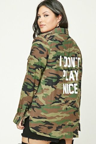Plus Size Graphic Camo Shirt