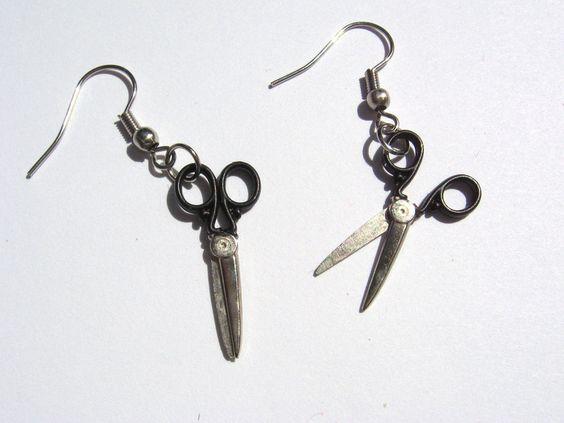 Ohrhänger - Ohrhänger Scheren schwarz silber Ohrringe Schmuck - ein Designerstück von kieselratte bei DaWanda