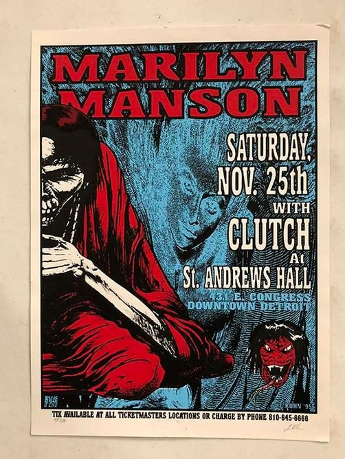 Original Silkscreen Concert Poster For Marilyn Manson At The St Andrew S Hall In Detroit 16 X 22 5 Inc Concert Posters Music Concert Posters Manson