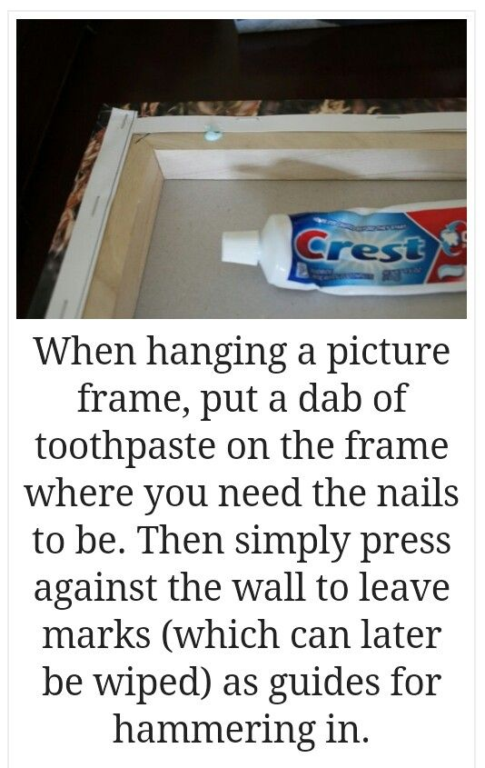 Hanging picture frames. This would have been good to know this morning!