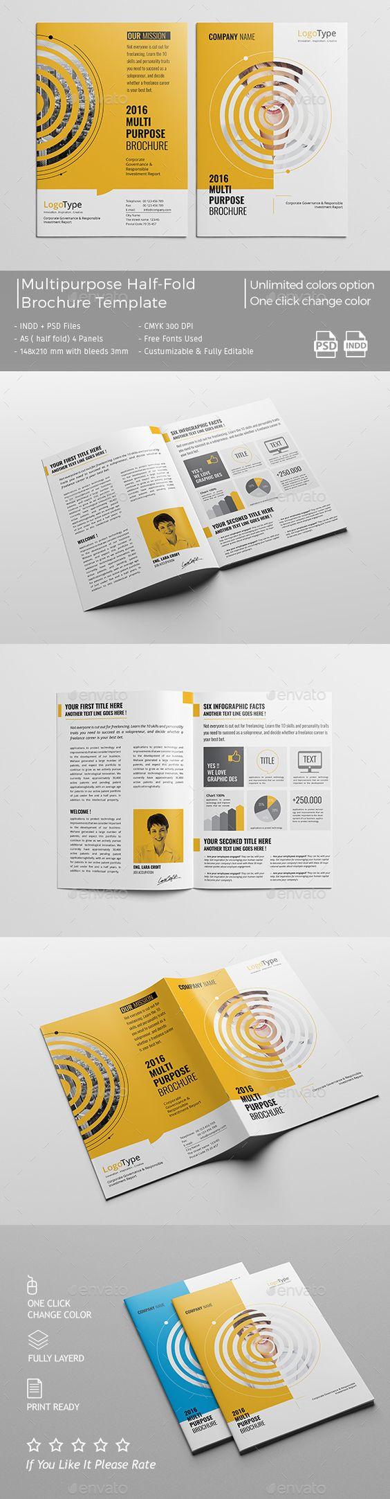Pro Multipurpose Half-Fold Brochure Template #design Download: http://graphicriver.net/item/pro-multipurpose-halffold-brochure/13122579?ref=ksioks