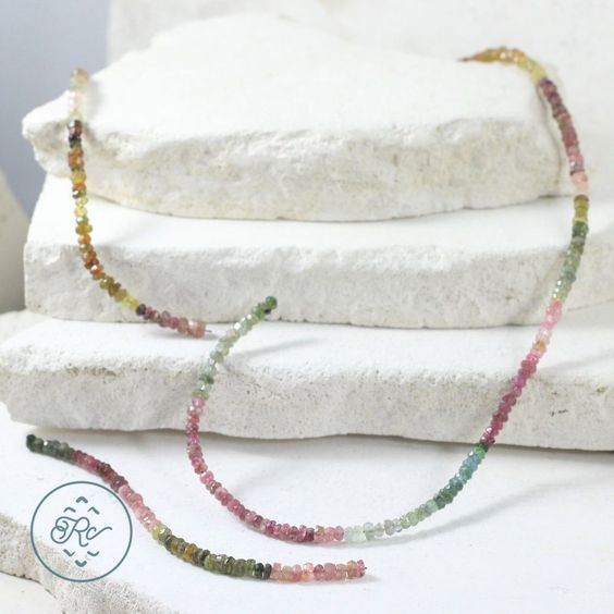 """(REPAIR) Sterling Silver - SIGNED Multi Tourmaline Beads HSN - Necklace (23.25"""")"""