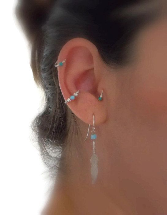 This Listing Is For One Beautiful Beaded 925 Sterling Silver Piercing Possible Uses Perfect For Con Conch Earring Tiny Stud Earrings Outer Conch Piercing