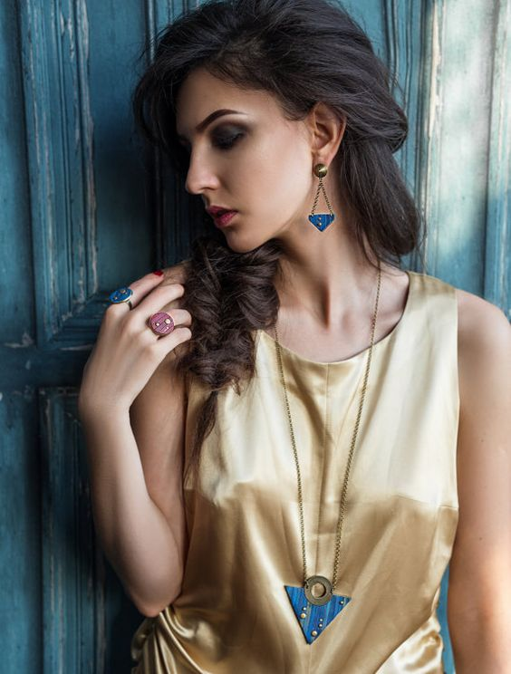 Geometric Triangle necklace Edgy Modern necklace by EvaAndreDesign