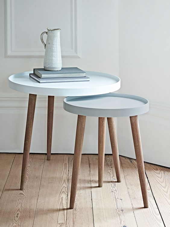 With three Scandinavian style white cedar legs and a smooth modern painted lipped top, our Lina Side Tables are finished in two complimentary shades, the larger a light powder blue and the smaller a soft grey blue. Use alone as a stylish side table or nest together to make a statement in your living space. Also available in two blush shades here, and two grey colours here.