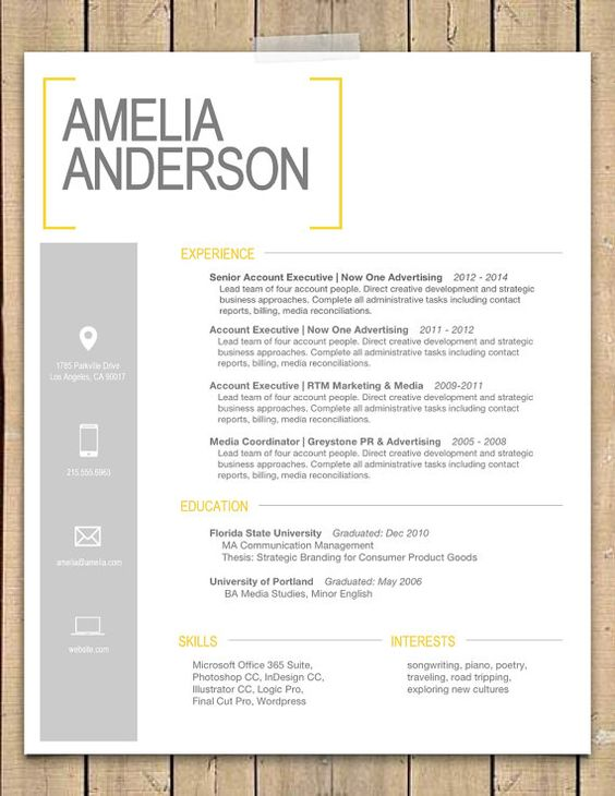 Super cute resume design! | Yellow Bracket Resume + Cover Letter ...