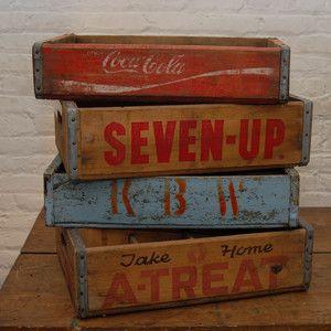 Vintage Soda Crate Set of Four