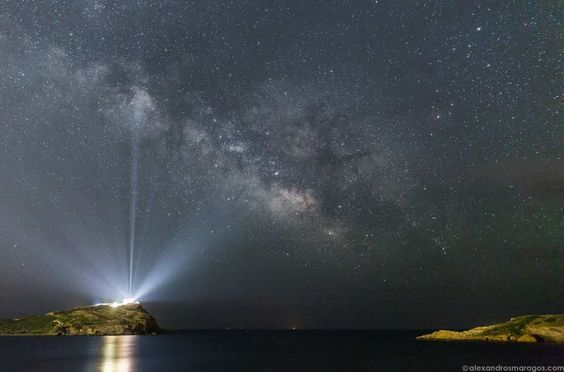 In this impressive image with the Milky Way in the background, the glowing lights are emanate from the Temple of Poseidon at Cape Sounion, 65km southeast of Athens, Greece. Image credit Alexandros Maragos