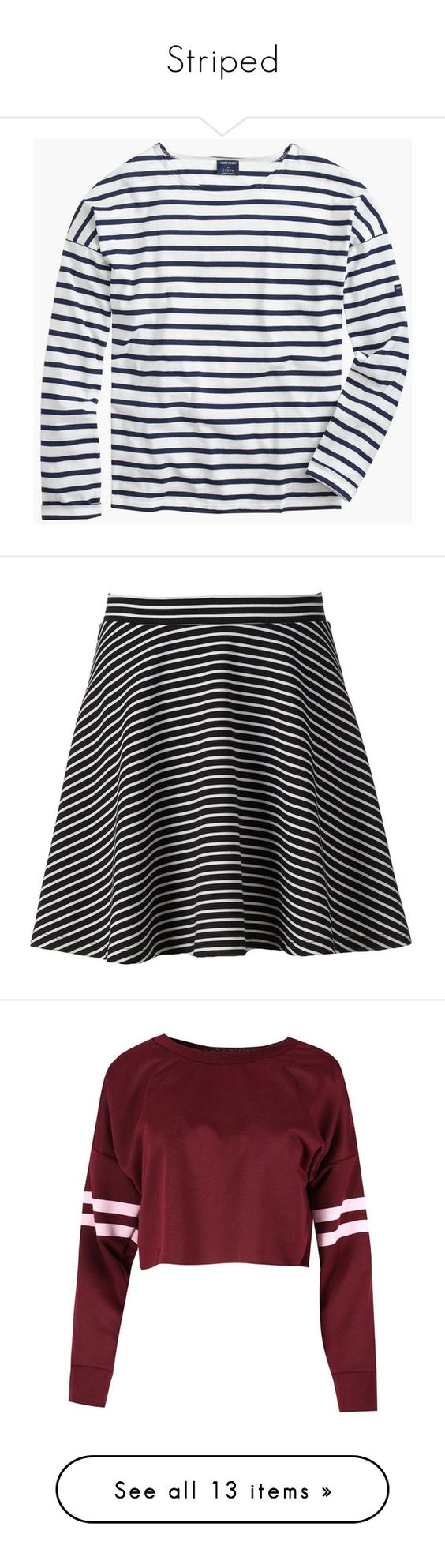 """""""Striped"""" by lexi-lynne17 ❤ liked on Polyvore featuring tops, shirts, loose shirt, slim shirt, j crew shirts, stripe shirt, slim fit shirts, skirts, mini skirts and black"""