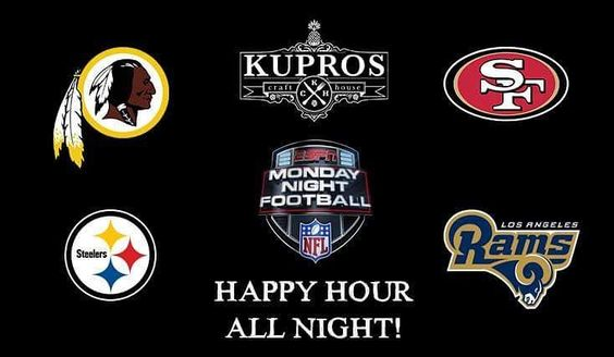 It's a double-header of MNF tonight so come get your seats early especially for the 2nd game which pits newly relocated Rams against the 49'ers. Happy Hour all night with $1 off all drafts $3 well cocktails & $4 select wines. Steelers take on the Redskins in 20 minutes! #Sacramento #mnf