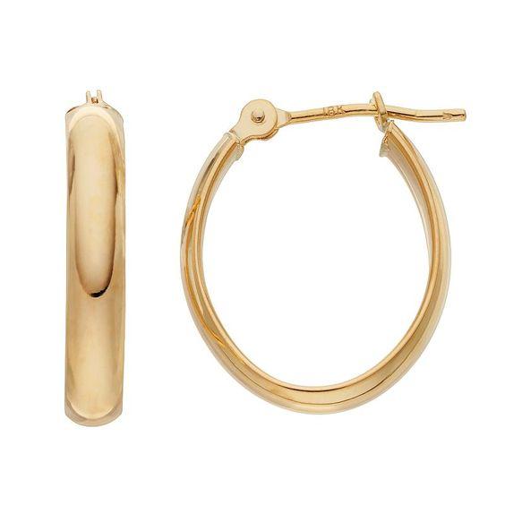 18k Gold Polished Oval Hoop Earrings, Women's, Yellow