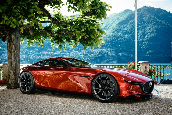 Mazda exhibits the striking RX-VISION concept car on the shores of Lake Como at this year's Concorso d'Eleganza Villa d'Este.