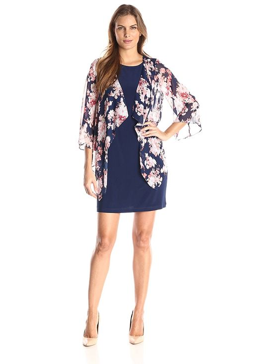 Tiana B Women's Abstract Floral-Print Mock Jacket with Solid Knit Sleeveless Dress >>> More info could be found at the image url.