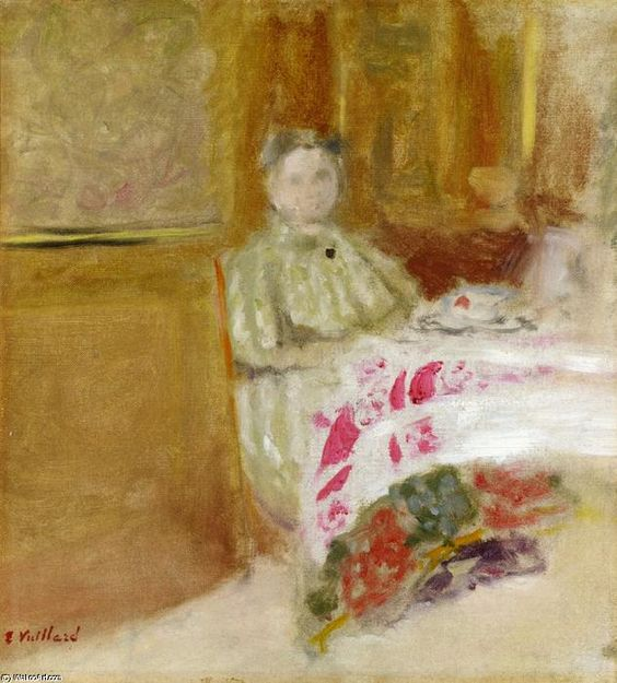 'Madame Vuillard at Table',  - 31 x 27 cm - 1900 - Oil On Canvas by Edouard Vuillard (1868-1940, France)