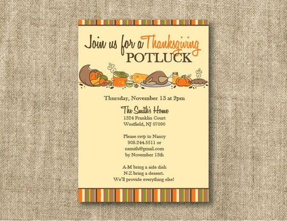 thanksgiving invitations wording with bring a dish | Sample ...