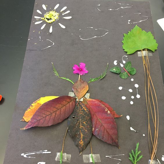 Identify tree leaves gathered from outdoors with students, then create something with your materials. Here's a leaf ballerina