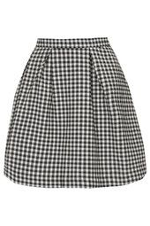 Gingham Box Pleat Mini Skirt