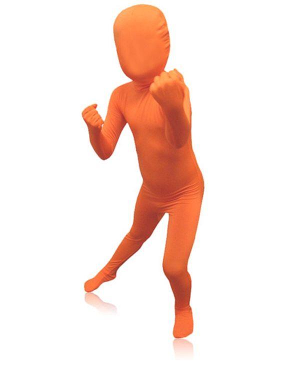 SecondSkin Full Body Spandex/Lycra Suit (Kids L, Orange)