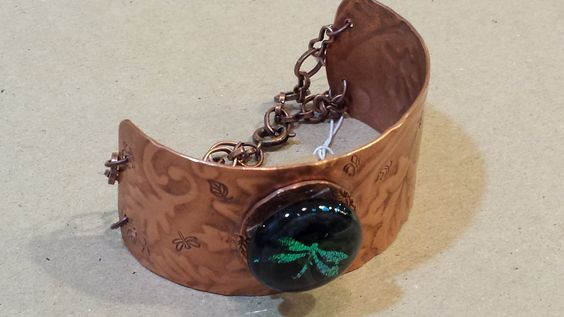 Copper embossed cuff and chain bracelet with fused glass dragonfly button