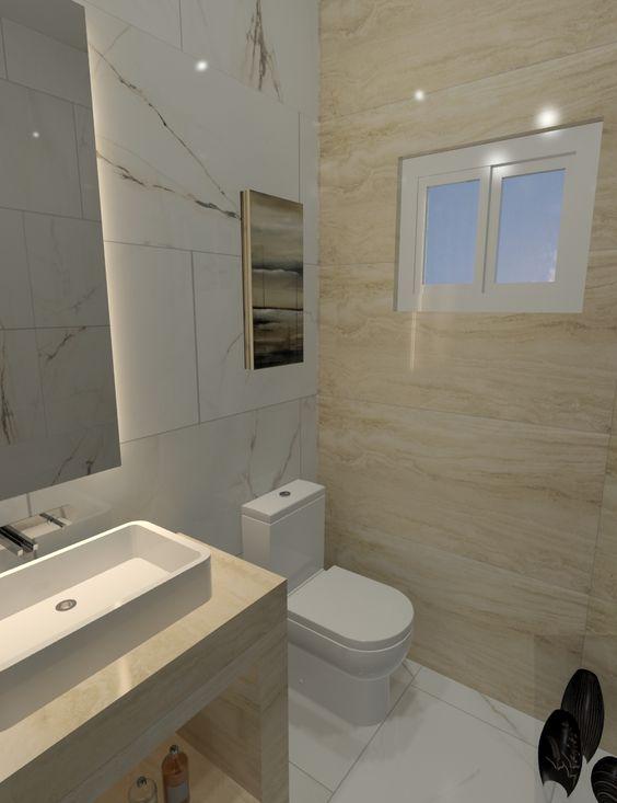 Azulejos Para Baño Gilsa:Piso y Muros: Paonazzetto Bianco – Portobello Muro Ventana: Travertino