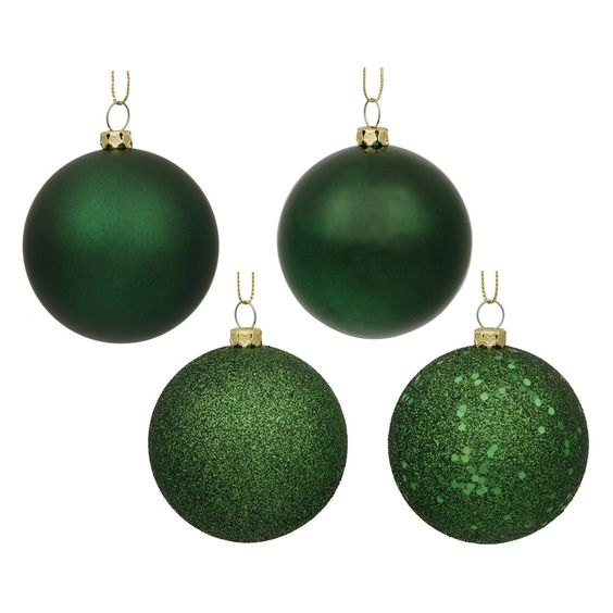 60ct Emerald Green Assorted Finishes Plastic Ball Shatterproof Christmas Ornament Set