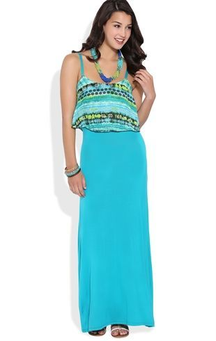 Deb Shops tribal chiffon spaghetti strap popover.... I must have this maxi for my vacation!