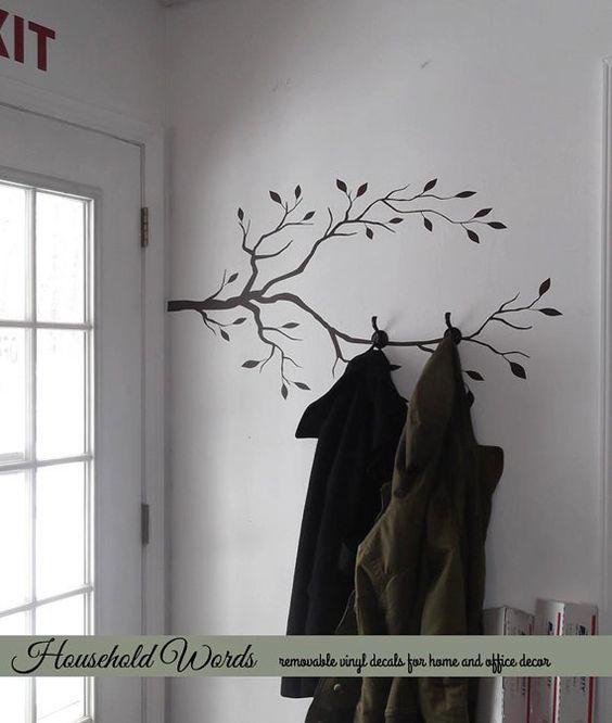 Tree Branch Vinyl Decals Create a DIY coat rack by HouseHoldWords