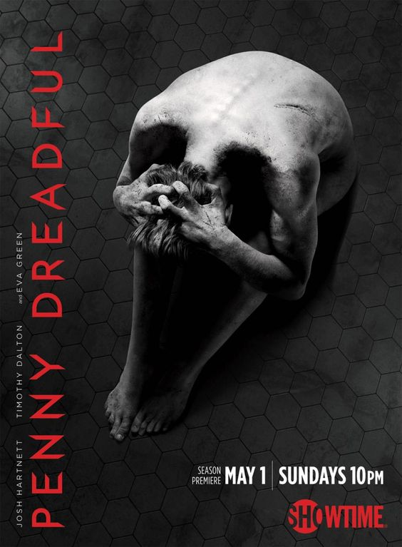 This poster for the TV series Penny Dreadful exercises gestalt in its assumption that the viewer will identify an abstract shape as the simplest familiar object, and only upon closer inspection discover a more complicated meaning. In this case, coloring and shadow suggest the simplified image of a skull. In reality, the shape is formed from the twisted posture of a human body.: