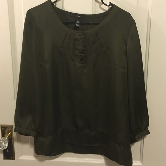 H&M Silk-like Olive Green Button-up Blouse Buttons and decorative seams adorn the scoop neckline of this pretty little blouse from H&M. 3/4 length sleeves. 100% Polyester EUC H&M Tops Blouses
