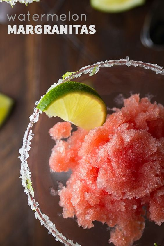 Watermelon granita infused with tequila and lime- only 4 ingredients and 10-minutes prep work!  @sweetpeasaffron