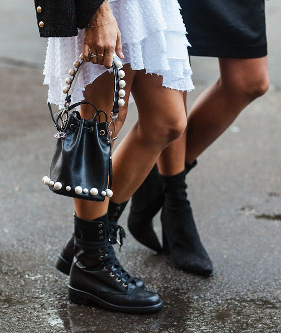 Australia Fashion Week Street Style from Sydney: pearl-studded bags and chunky black ankle boots