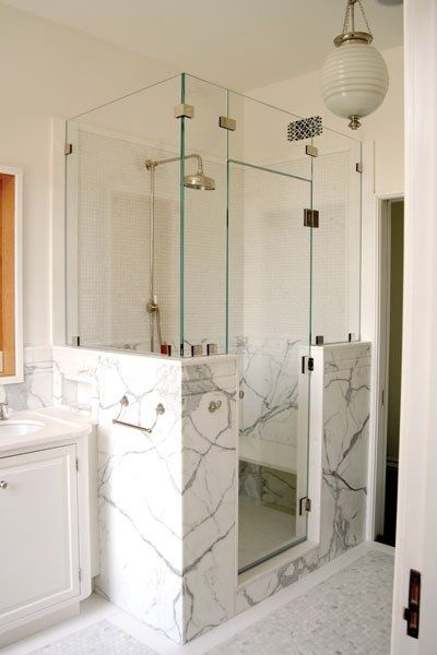 Half wall shower half walls and benches on pinterest for Half wall shower glass