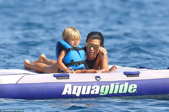 Messing around on boats: Kourtney enjoyed floating on the sea with her youngest…