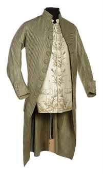 A GENTLEMAN'S COAT AND WAISTCOAT, 1770s. Striped green taffeta coat trimmed with 'macaroni' buttons, waistcoat of ivory embroidered silk.