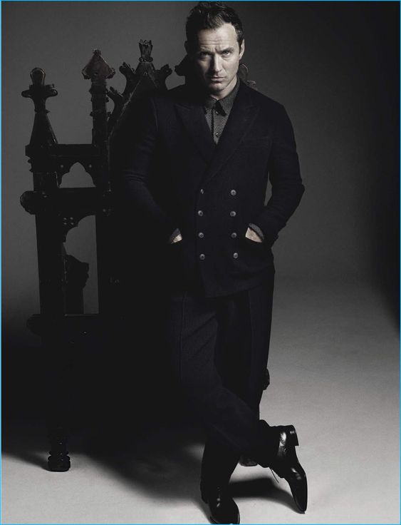 Jude Law wears Giorgio Armani for the pages of L'Uomo Vogue.