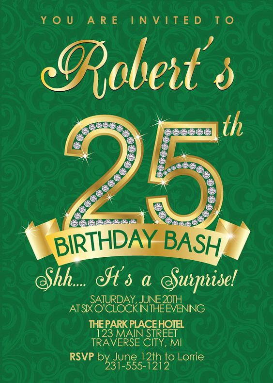 25th Birthday Invitation - Adult Birthday Party Invitation ...