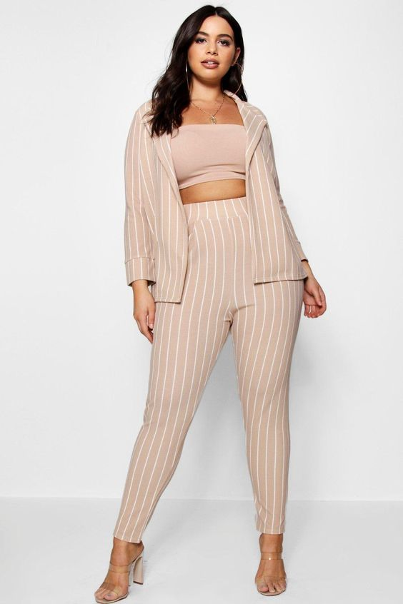 Plus Annie Pastel Stripe Blazer & Tailored Trouser | Boohoo