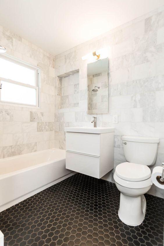 bathroom with black hex tile floors ikea godmorgon highgloss white