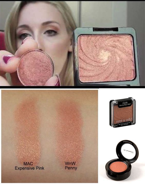 Dupe (Duplicate) Alert! - MAC Expensive Pink Eyeshadow vs. Wet n Wild Penny Eyeshadow. They're pretty darn close! Watch her video and determine for yourself.