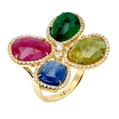 Quad Gem Kisses Ring | Red C Jewels #jewelry #ring #diamonds #ruby #sapphire #emerald #kyanite #couture #diamondring #rubyring #gemstonesring #gemstones #jewels
