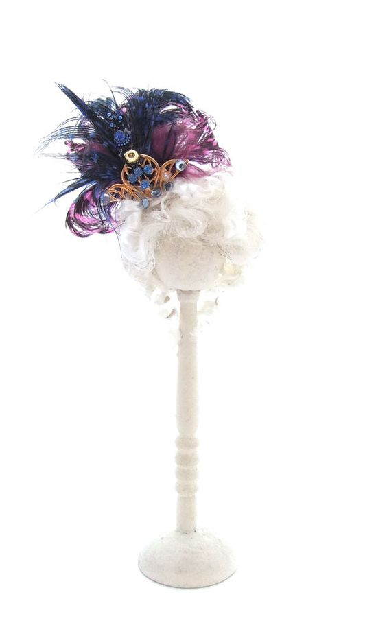 1/12 Scale Dollhouse Miniature Wigged Feather Fascinator by shaw1, £10.00