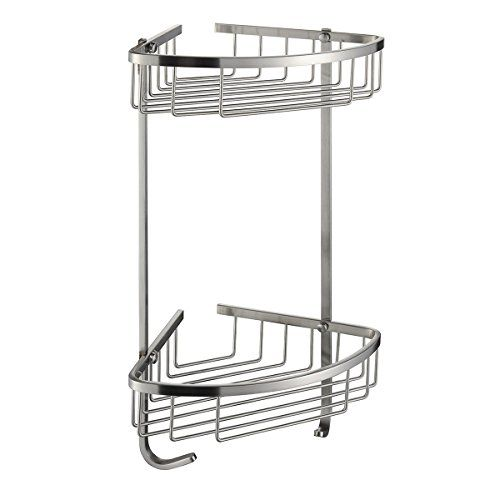 Onkuey Sus 304 Stainless Steel Bathroom Corner Shower Caddy Basket Wall Mount Brushed Nickel 2 Tier Shower Caddy Corner Shower Caddy Stainless Steel Bathroom
