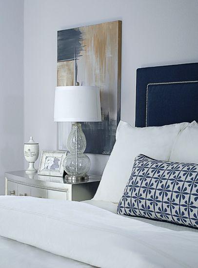 Gray And Navy Bedroom Metallic Silver Nightstand Navy Upholstered Headboard Purple Gray